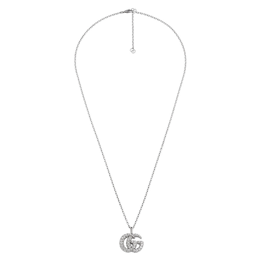 Gucci White Gold GG Running Large Diamond Double G Pendant Necklace Full View