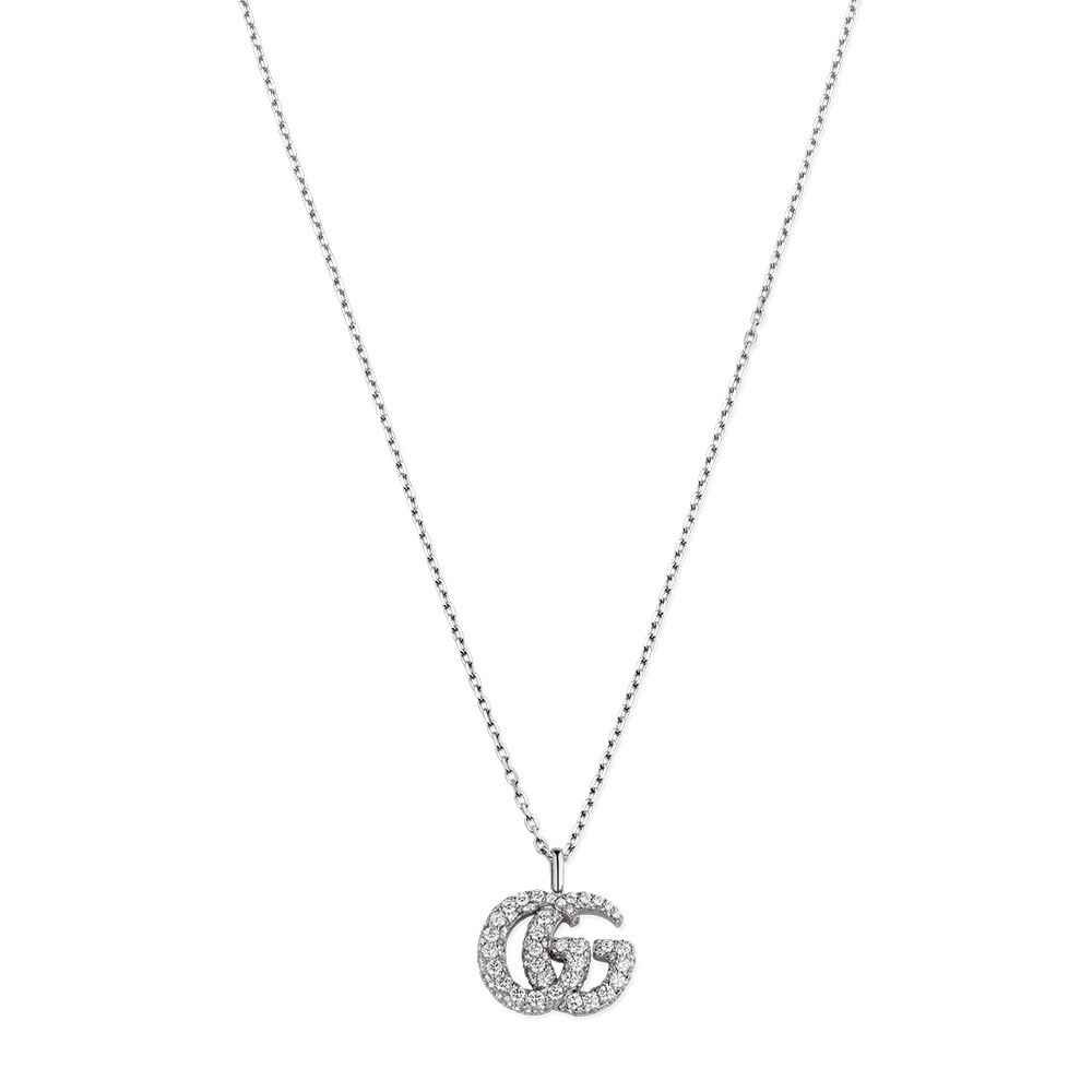 Gucci White Gold GG Running Large Diamond Double G Pendant Necklace