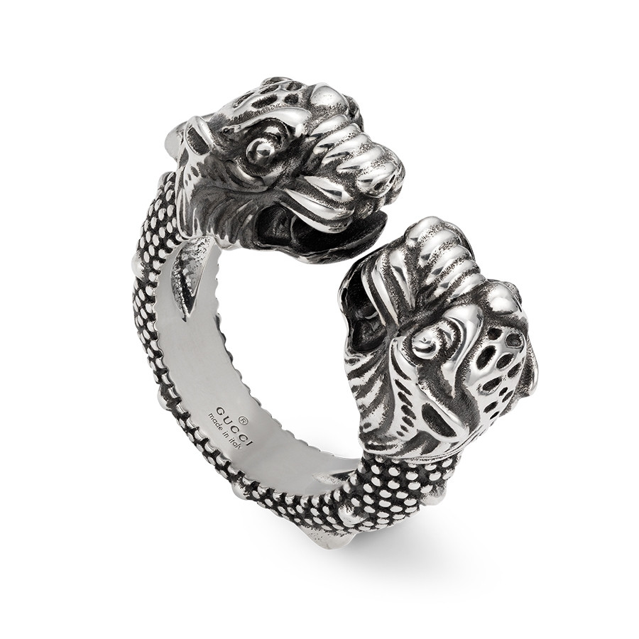Gucci Sterling Silver Double Tiger Head Open Vintage Tiger Ring