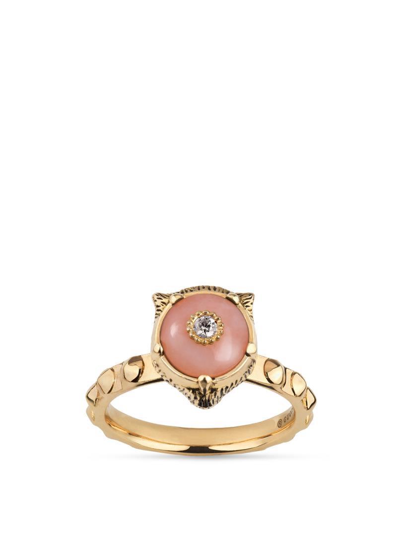 Gucci Pink Opal & Diamond Feline Head Le Marche des Merveilles Front