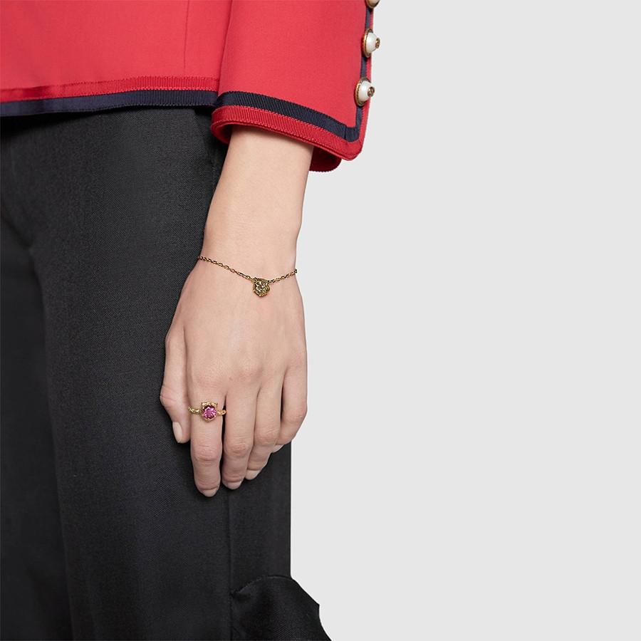 Gucci Pink Tourmaline & Diamond Feline Head Le Marche des Merveilles Ring on Model