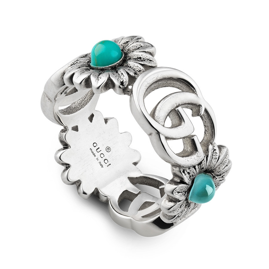 Gucci Turquoise Flower GG Marmont Silver Band Ring
