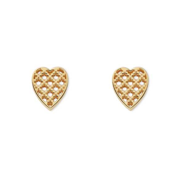Gucci Diamantissima Yellow Gold Open Detail Heart Earrings