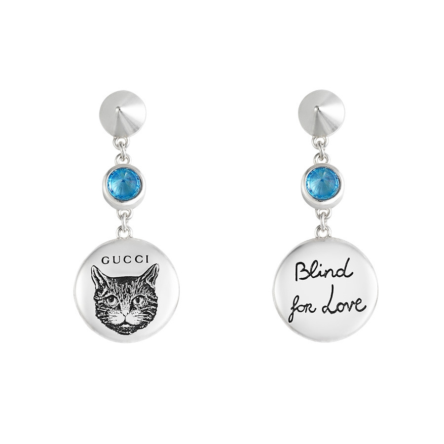 Gucci Silver Blind for Love Blue Zirconia Circle Drop Earrings