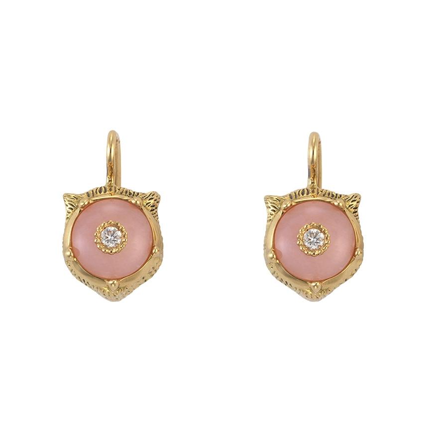 Gucci Pink Opal & Diamond Feline Head Drop Le Marche des Merveilles Earrings Side View