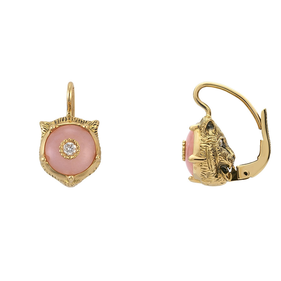 Gucci Pink Opal & Diamond Feline Head Drop Le Marche des Merveilles Earrings