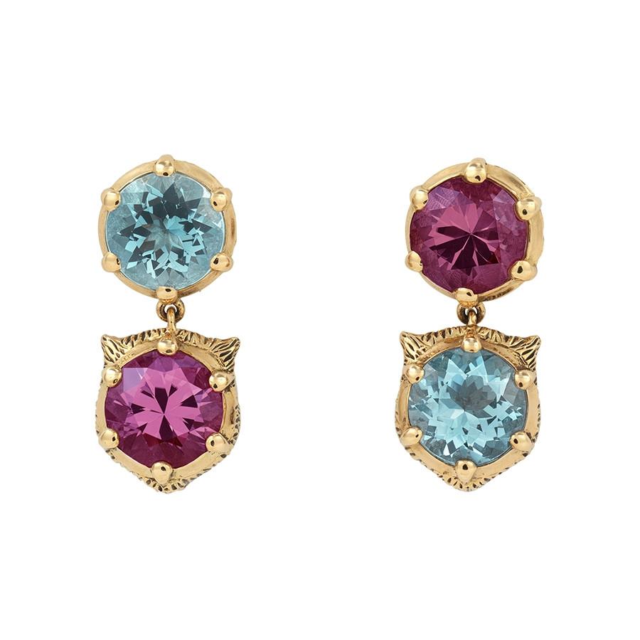 Gucci Aquamarine & Pink Tourmaline Feline Head Drop Le Marche des Merveilles Earrings