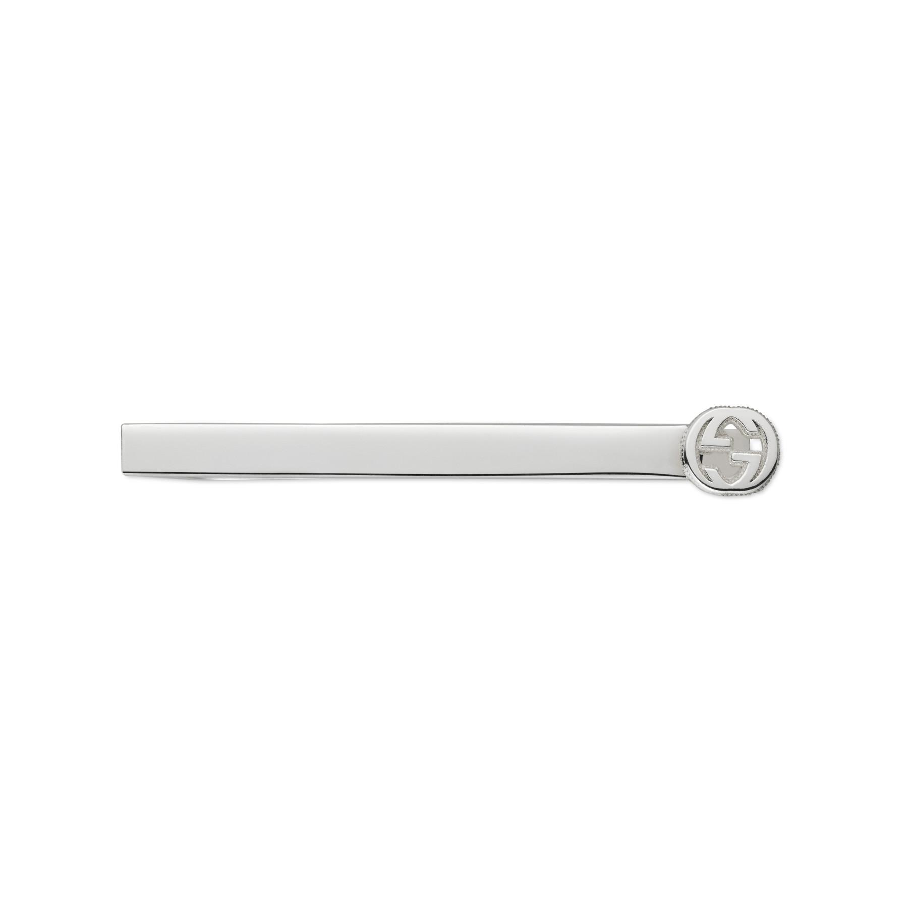 Gucci Silver Interlocking G Tie Bar