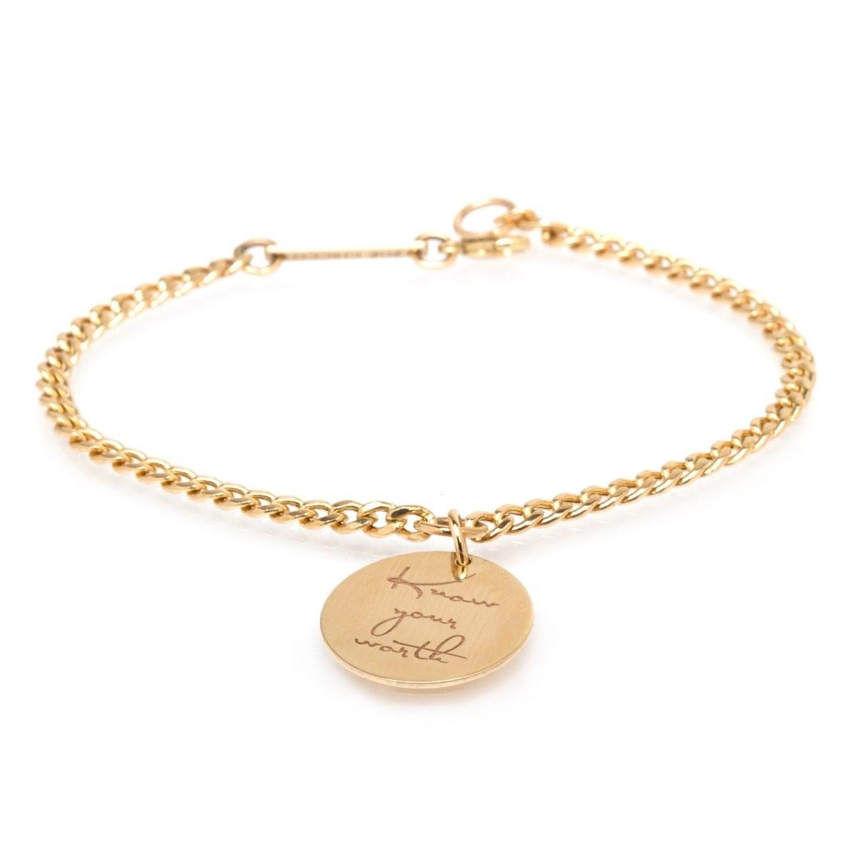 "Zoë Chicco Small Mantra Charm Bracelet ""Know your worth"""
