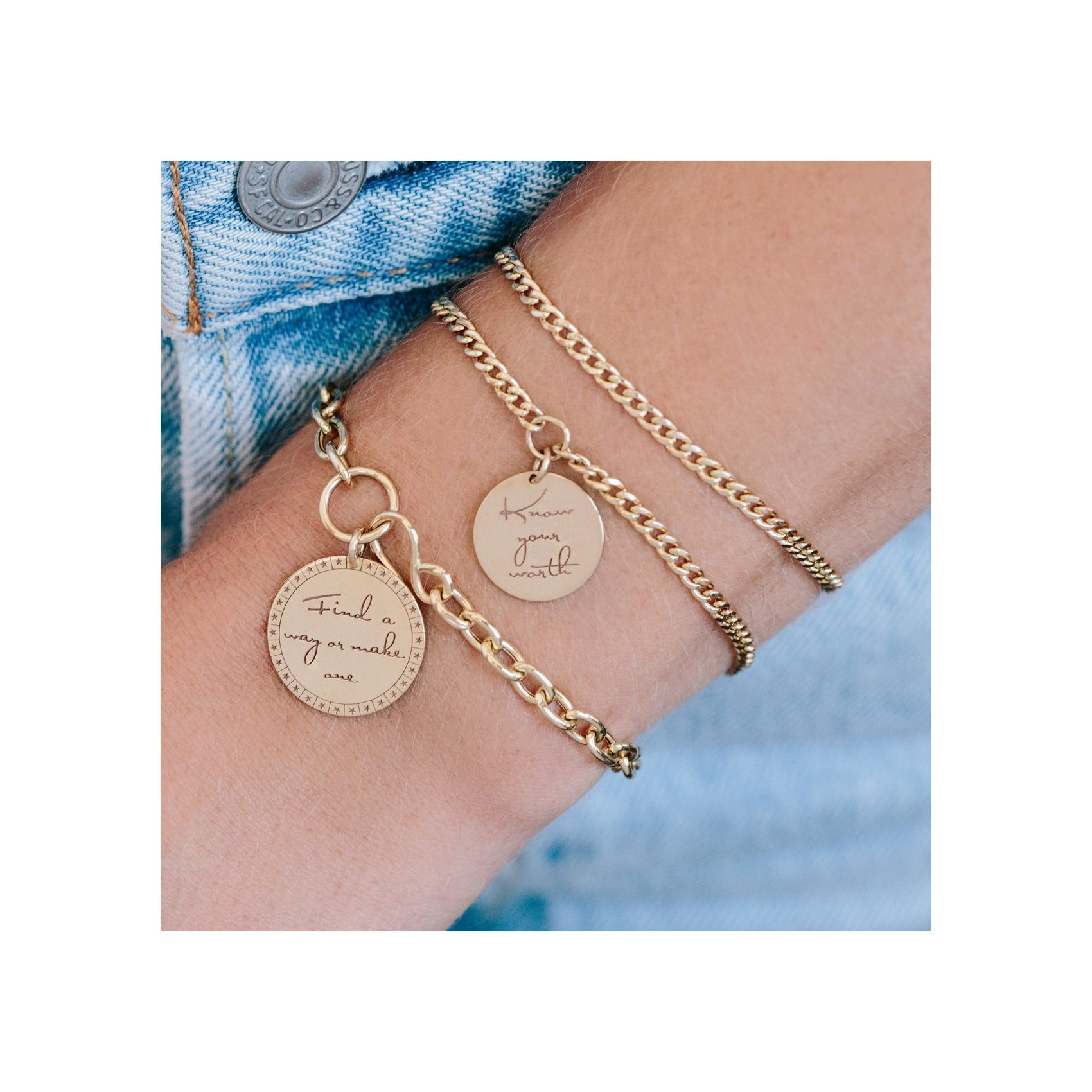 """Zoë Chicco Small Mantra Charm Bracelet """"Know your worth""""  on Model"""