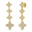 Roberto Coin Yellow Gold Princess Flower Four Diamond Flower Drop Earrings
