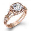 Simon G Passion Pave Halo Split Shank Engagement Ring