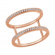 Two Row Diamond Gladiator Ring in Rose Gold