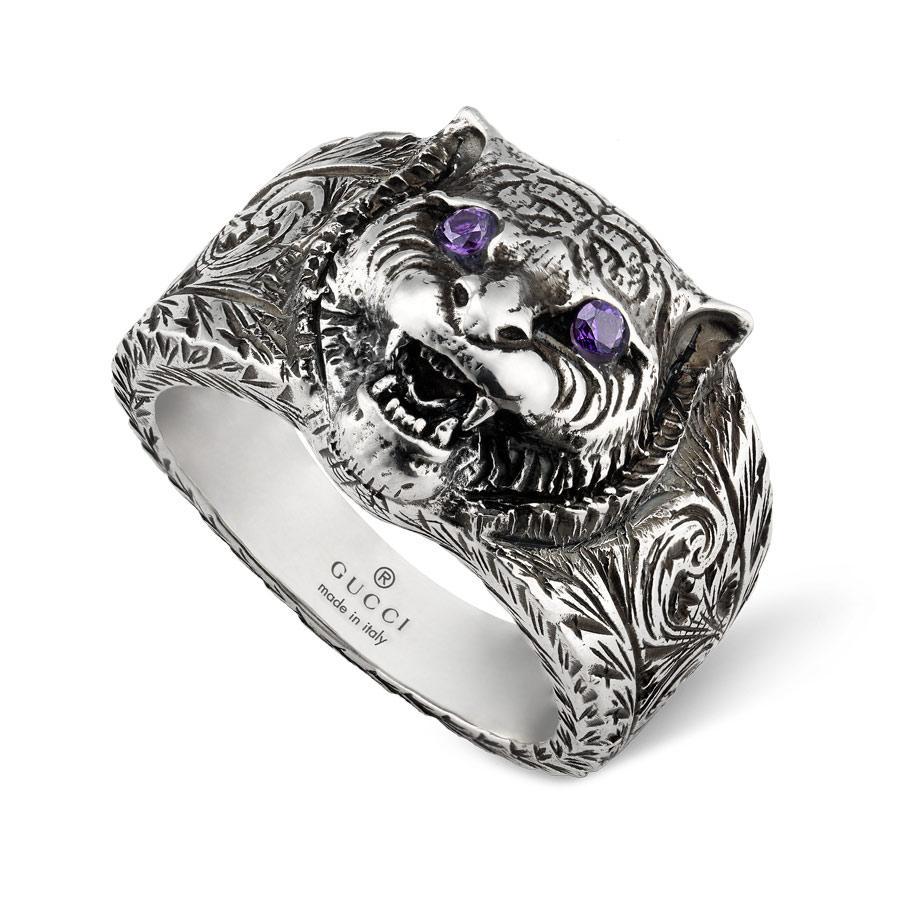 70d11222531f4e Gucci Gatto Silver Feline Head Engraved Band Ring - GU00YBC455327002 by  Gucci