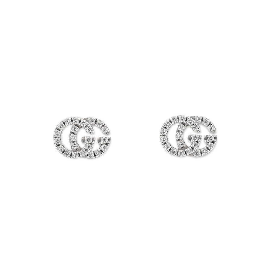 0f6ed263dde2e8 Gucci Running G White Gold Pave Diamond Stud Earrings - GU00YBD481678001 by  Gucci