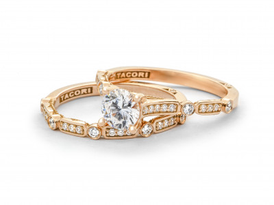 Tacori Sculpted Crescent Wedding Band and Engagement Ring