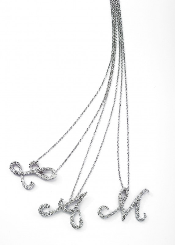 Roberto Coin Diamond Cursive Intial Necklace