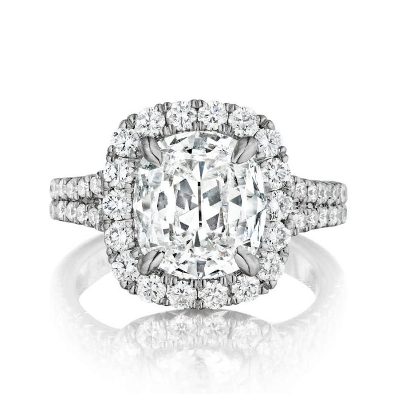 Henri Daussi Cushion Halo Engagement Ring