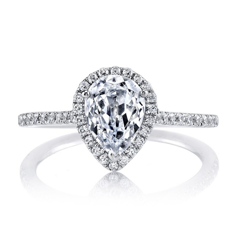 MARS Ever After Pear-Shaped Diamond Halo Engagement Ring Setting