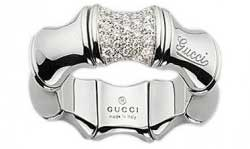 Gucci Bamboo White Gold & Pave Diamond Ring