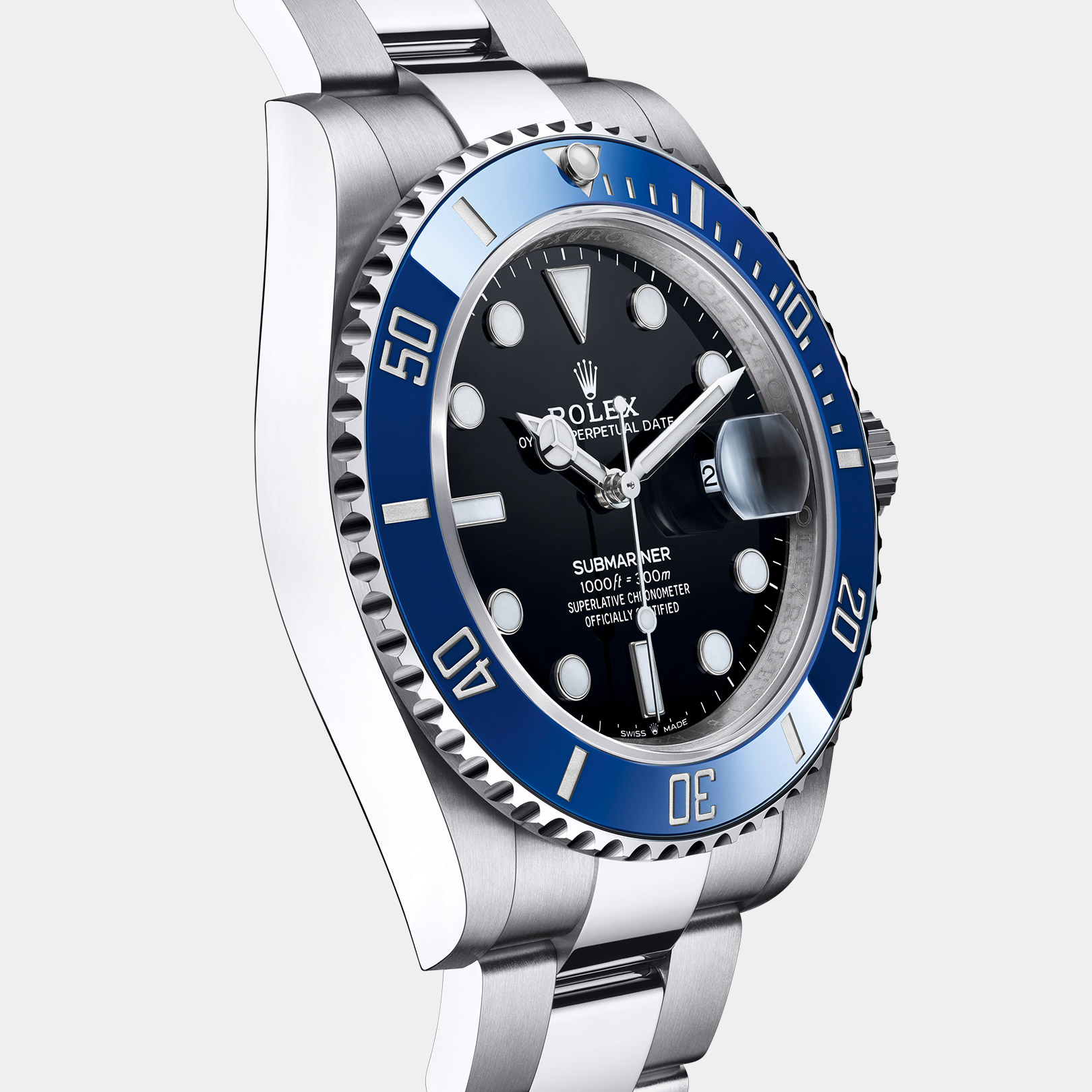 the new Rolex® Submariner with blue Cerachrom bezel and black dial