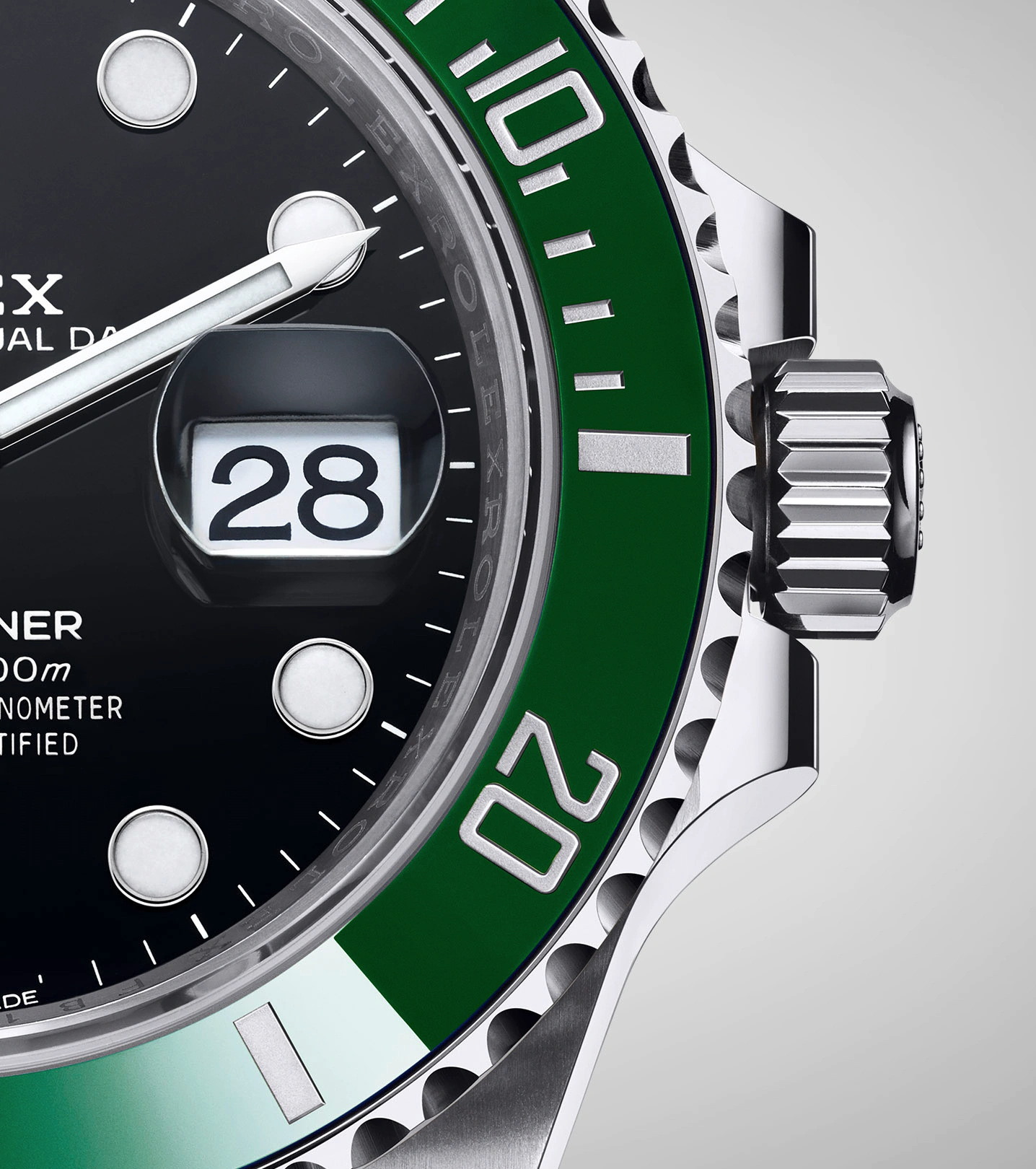 the new Rolex® Submariner with green Cerachrom bezel and black dial