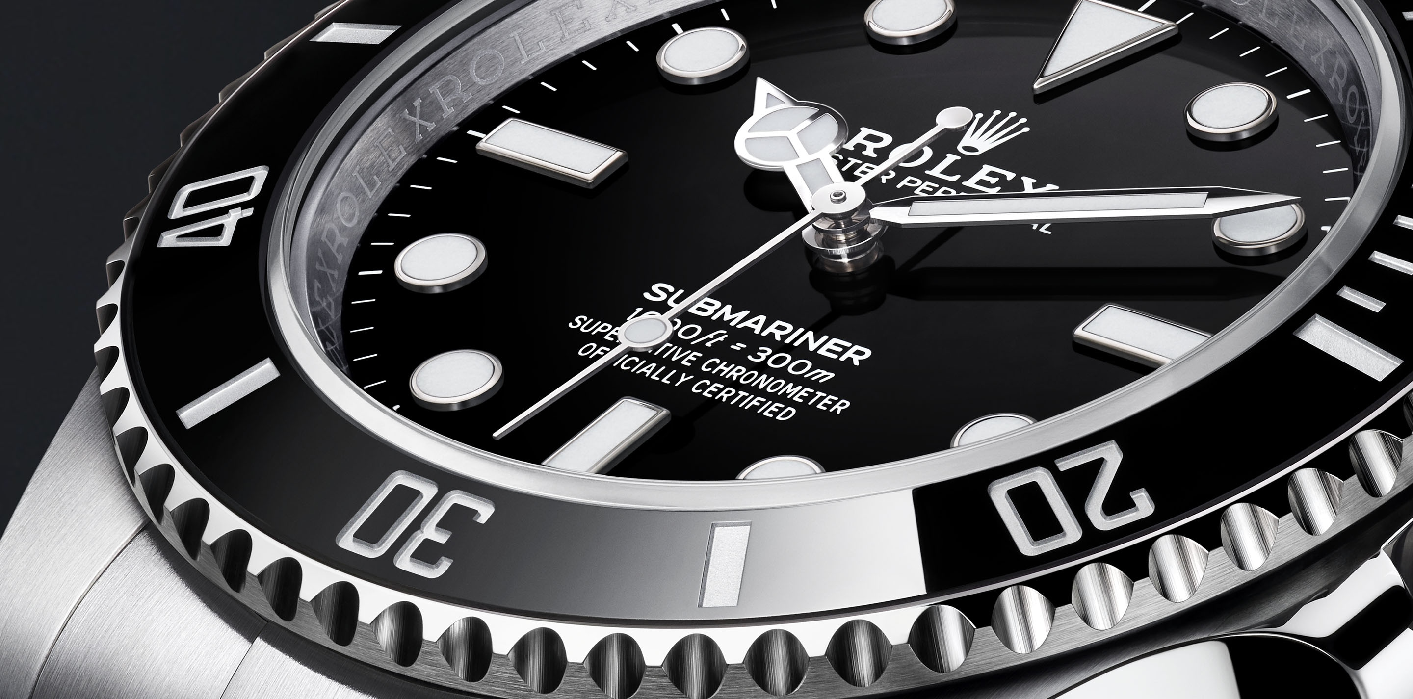The new Rolex® Submariner non-date watch with a black dial and black Cerachrom bezel